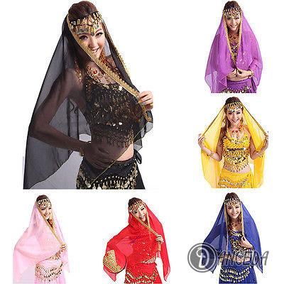 Яркий шифоновый платок с золотой отделкой для восточных танцев