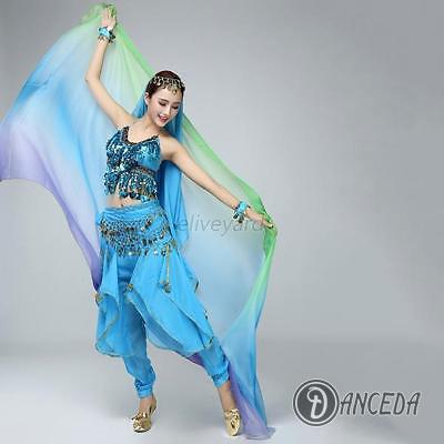 Шаль и костюм шелковая, цветная для восточных танцев живота