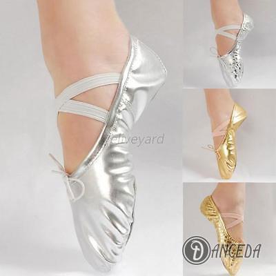 Танцевальная обувь для занятий балетом золотистого и сребристого цвета