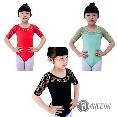 Детское трико для танцев с коротким кружевным рукавом