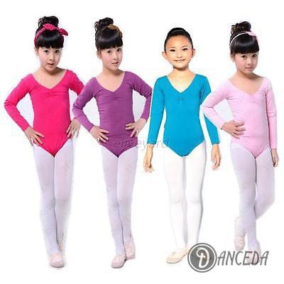 Цветное трико детское с длинными рукавами для танцев и гимнастики