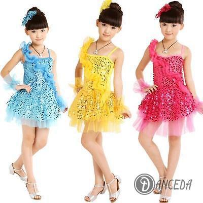 Яркие детские платья для занятия латиноамериканскими танцами