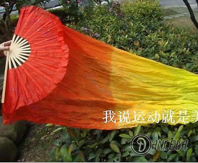 Веер из бамбука и цветной ткани с переходами для восточных танцев