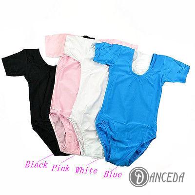 Цветные трико с коротким рукавом для танцевального костюма девочек
